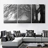 e-home® strukket lerret kunst treet dekormaling sett med 3