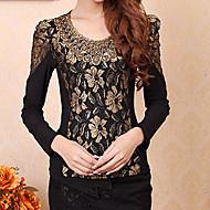 AIIMAII™ Women's Elegant Vintage/Casual/Print/Work Micro-elastic Long Sleeve Regular Blouse (Lace/Spandex/Nylon)