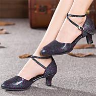 Women's Dance Shoes Latin Paillette Chunky Heel Black