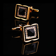 Toonykelly® Fashion Men's Square Crystal Rhinestone Party Cufflink Button(1 Pair)
