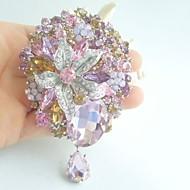 Women Accessories Silver-tone Multicolor Rhinestone Crystal Brooch Art Deco Dangling Flower Brooch Bouquet Women Jewelry