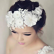 Women's Lace / Rhinestone Headpiece-Wedding / Special Occasion Flowers 1 Piece White