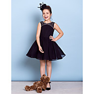 Lanting Bride® Knee-length Chiffon Junior Bridesmaid Dress A-line Jewel with Beading
