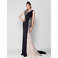 TS Couture® Formal Evening Dress - See Through Plus Size / Petite Trumpet / Mermaid Jewel Court Train Chiffon / Jersey with Crystal Detailing