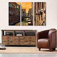 E-home® 3 tuval sanat şehir kanal dekorasyon boyama seti gergin