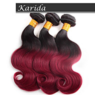 3 Pcs/Lot Dark Red Ombre Hair Body Wave Wholesale Brazilian Hair, Unprocessed and Soft Hair Wavy Brazilian Ombre Hair