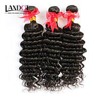 "3Pcs Lot 12""-30"" Unprocessed Raw Brazilian Deep Wave Curly Virgin Hair Wefts Natural Black Remy Human Hair Weave Bundles"