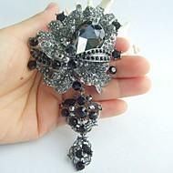 Women Accessories Black Gray Rhinestone Crystal Dangling Flower Brooch Art Deco Brooch Bouquet Women Jewelry