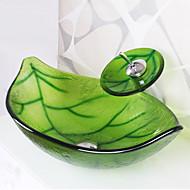 Contemporâneo 1.2*59*37*19 Rectângular material dissipador é Vidro TemperadoPia de Banheiro Torneira de Banheiro Anél de Instalação de