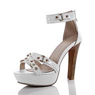 Women's Sandals Summer Platform Gladiator Ankle Strap Cowhide Office & Career Casual Party & Evening Spool Heel Rivet Zipper Black White