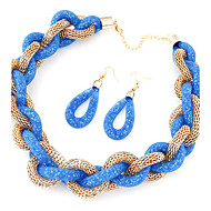 Women's European Style Concise Fashion Shiny Metal Braided Necklace Earring Sets