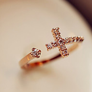 Women's European Style Fashion Exquisite Rhinestone Cross Ring