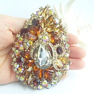 Women Accessories Gold-tone Topaz Rhinestone Crystal Flower Brooch Art Deco Crystal Sash Scarf Brooch Bouquet