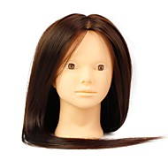 Heat Resistant Synthetic Hair Salon Female Mannequin Head No Make-up Color Brown