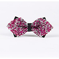 Shiny Silver Pink Diamond Bow Ties