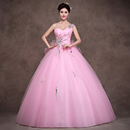 Formal Evening Dress Ball Gown Sweetheart Floor-length Satin / Tulle / Stretch Satin with Crystal Detailing / Ruffles / Criss Cross