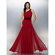 Formal Evening Dress - Plus Size / Petite A-line One Shoulder Floor-length Chiffon / Velvet