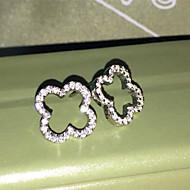 Hollow Clover Brand Earrings Stud Sterling Silver Engagement Fine Jewelry SONA Simulate Diamond Earrings Stud for Women