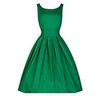 Mulheres Vestido Evasê Vintage Sólido Médio Decote Redondo Algodão