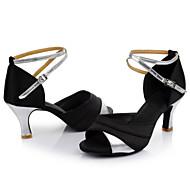 Obyčejné-Dámské-Taneční boty-Latina / Taneční tenisky-Satén-Kubánský-Červená / Stříbrná / Zlatá