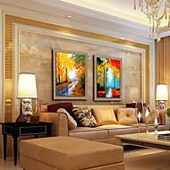 peinture à l'huile décoration paysage peint à la main lin naturel avec la main tendue encadrée - ensemble de 2