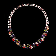 Gorgeous Women's Alloy Wedding Jewelry Luxury Colorful Crystals Cubic Zirconia Necklace (with Gift Box)