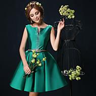 Cocktail Party Dress - Dark Green Ball Gown V-neck Short/Mini Charmeuse