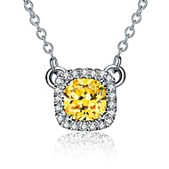 2CT 7*7mm Golden SONA Simulate Diamond Cushion Cut Pendant for Women Free 925 Necklace Sterling Silver Jewelry Pendant