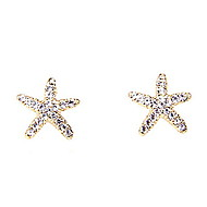 New Sweet Lovely Ocean Starfish Shiny Diamond Earrings