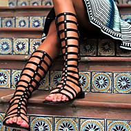 Women's Shoes Open Toe Flat Heel Knee High Sandals Boots