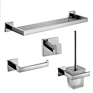 Polish Stainless Steel Bathroom Accessories Set with Glass Shelf Toilet Paper Holder Toilet Brush Holder and Robe Hook