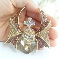 Women Accessories Gold-tone Topaz Rhinestone Crystal Brooch Art Deco Skull Skeleton Brooch Women Jewelry