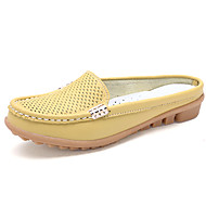 Women's Shoes Leather Flat Heel Comfort/Round Toe Clogs & Mules Outdoor/Casual Black/Yellow/Red/White/Orange