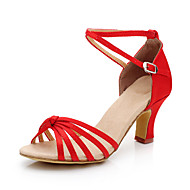 Non Customizable Women's Dance Shoes Belly/Latin/Salsa/Samba Satin/Synthetic Stiletto Heel Black/Blue/Red/Gold