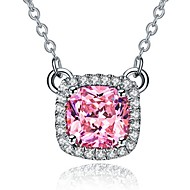 Sterling Silver Pendant 3CT 8*8mm SONA Simulate Diamond Cushion Pendant for Women 18inches Necklace Gift Pink Jewelry