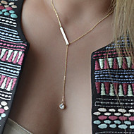 Women's Fashion Crystal Drop Long Chain Necklace