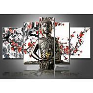 handgemalten Wandkunst Religion Buddha Ölmalerei auf Leinwand grün 5pcs / set kein Rahmen