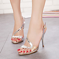 Zapatos de mujer - Tacón Stiletto - Tacones / Punta Abierta / Plataforma - Sandalias - Casual - Cuero Patentado - Plata / Oro