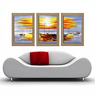 oliemaleri dekoration abstrakt landskab håndmalede naturlige hør med strakte indrammet - sæt af 3