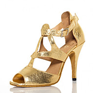 Non Customizable Women's Dance Shoes Salsa Flocking Stiletto Heel Gold