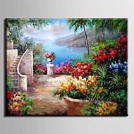 Ručně malované KrajinaModerní / Středomoří / evropský styl Jeden panel Plátno Hang-malované olejomalba For Home dekorace