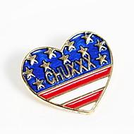 Fashion Peach Hearts Brooch British Flag Design Shirt Collar Button