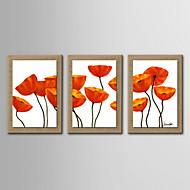בד מצויר ביד פרחים מופשטים קישוט ציור שמן עם נמתח ממוסגר - סט של 3
