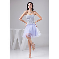 Cocktail Party Dress A-line Sweetheart Knee-length Tulle/Sequined Women Short Dress