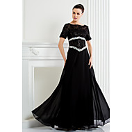 A-line Plus Size / Petite Mother of the Bride Dress Floor-length Short Sleeve Chiffon / Lace with Beading