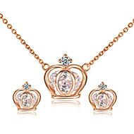 Schmuckset Kristall Krystall Kubikzirkonia Aleación Kronenform Halsketten Ohrringe Für Hochzeit Party Alltag Normal 1 Set