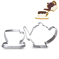 2 peças conjunto de teacup e teapot forma cortadores de biscoito de frutas cortadas moldes de aço inoxidável