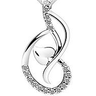 925 Silver Hearts Note Rhinestoe Pendant Necklace