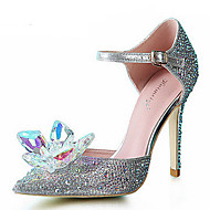 Women's Shoes Synthetic/Glitter Stiletto Heel Heels/Pointed Toe Pumps/Heels Wedding/Party & Evening/Dress Silver