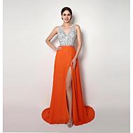 Formal Evening Dress - Orange A-line / Sheath/Column Straps Sweep/Brush Train Chiffon